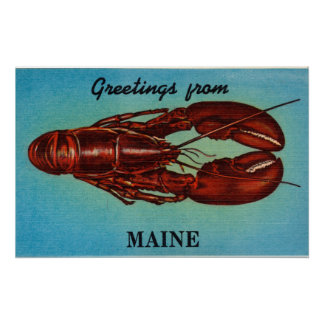Vintage Colorful Greetings From Maine Lobster Poster