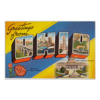 Vintage Colorful Greetings From Ohio Poster