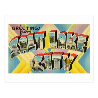 Vintage Colorful Greetings From Salt Lake City Postcard