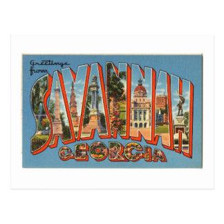 Vintage Colorful Greetings From Savannah Georgia Postcard