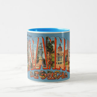 Vintage Colorful Greetings From Savannah Georgia Two-Tone Coffee Mug