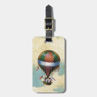 Vintage Colorful Hot Air Balloon Bag Tag