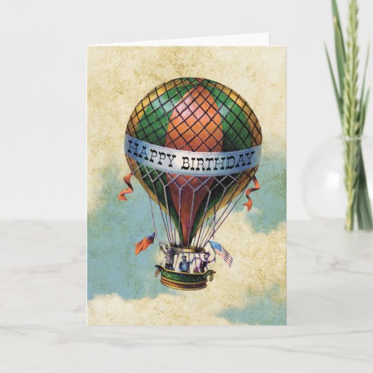 Vintage Colorful Hot Air Balloon Happy Birthday Card Zazzle