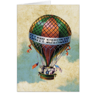 Vintage Colorful Hot Air Balloon Happy Birthday Greeting Card