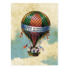 Vintage Colorful Hot Air Balloon Happy Birthday Postcard