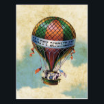 "Vintage Colorful Hot Air Balloon Happy Birthday Postcard<br><div class=""desc"">Up Up And Away with this Vintage Hot Air Balloon Happy Birthday Postcard featuring a colorful balloon,  patriots holding flags and antique clouds in the background.</div>"
