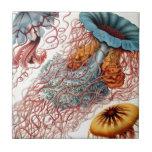 Vintage Colorful Jellyfish Ceramic Tile