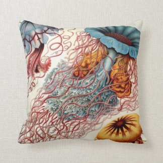 Vintage Colorful Jellyfish Throw Pillow