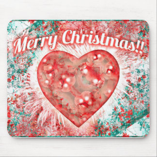 Vintage Colorful Merry Christmas Design Mouse Pad