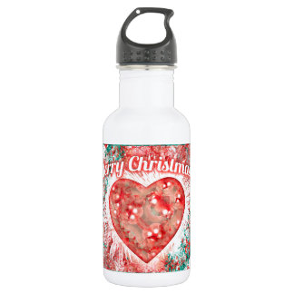 Vintage Colorful Merry Christmas Design Stainless Steel Water Bottle