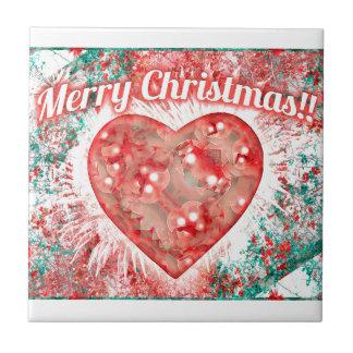 Vintage Colorful Merry Christmas Design Tile
