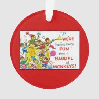 Vintage Colorful More Fun Barrel of Monkeys Ornament