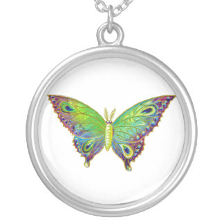 Vintage Colorful Moth Silver Plated Necklace