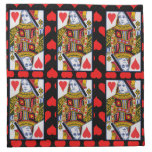 Vintage Colorful Ornate Queen of Hearts Cloth Napkin
