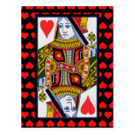 Vintage Colorful Ornate Queen of Hearts Post Card