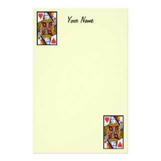 Vintage Colorful Ornate Queen of Hearts Stationery