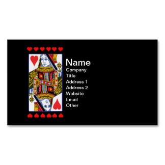 Vintage Colorful Ornate Queen With Hearts Magnetic Business Card