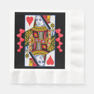 Vintage Colorful Ornate Queen With Hearts Paper Napkin