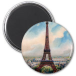 Vintage Colorful Painting Of Eiffel Tower 2 Inch Round Magnet