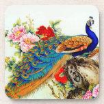 Vintage Colorful Peacock Beverage Coaster