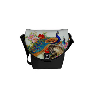 Vintage Colorful Peacocks Courier Bag