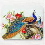 Vintage Colorful Peacocks Mousepad
