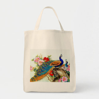 Vintage Colorful Peacocks Tote Bag