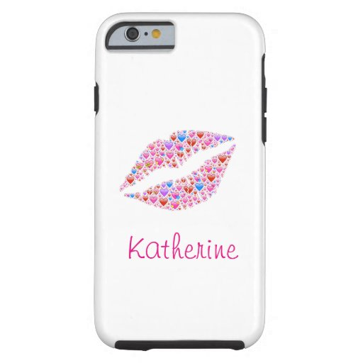Vintage Colorful Personalized Heart Shape Lips Tough iPhone 6 Case