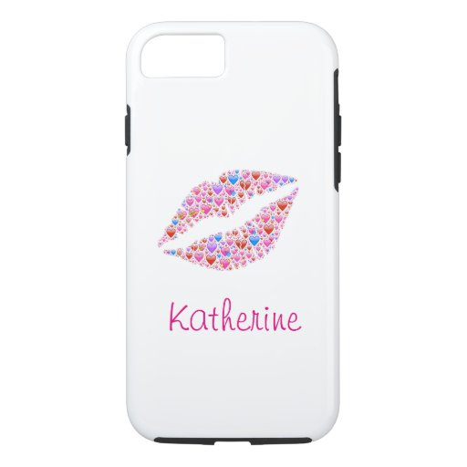 Vintage Colorful Personalized Heart Shape Lips iPhone 8/7 Case