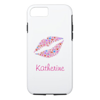 Vintage Colorful Personalized Heart Shape Lips iPhone 7 Case