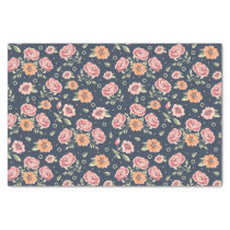 Vintage colorful rose pattern illustration tissue paper