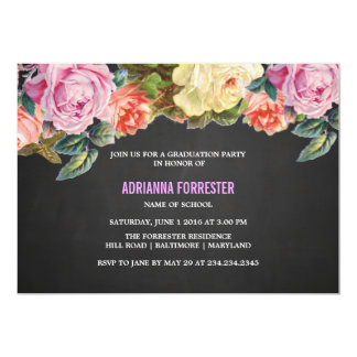Vintage Colorful Roses Chalkboard Graduation Party Card