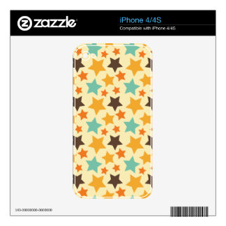 Vintage Colorful Stars Pattern Skin For iPhone 4S