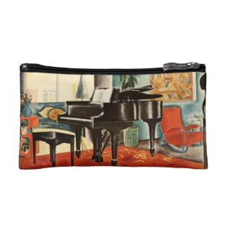 Vintage Colorful Steinway Piano Instrument Ad Art Cosmetic Bag