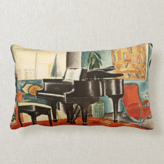 Vintage Colorful Steinway Piano Instrument Ad Art Lumbar Pillow