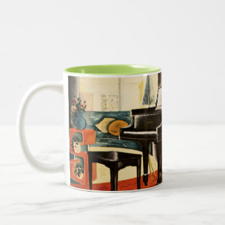 Vintage Colorful Steinway Piano Instrument Ad Art Two-Tone Coffee Mug