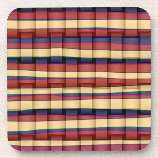 Vintage colorful stripes graphic design drink coaster