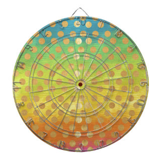 Vintage colorful tapestry gold polka dots nouveau dartboard with darts