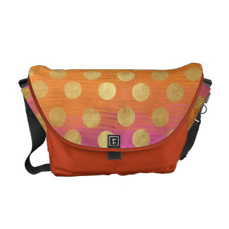 vintage colorful tapestry gold polka dots nouveau messenger bags