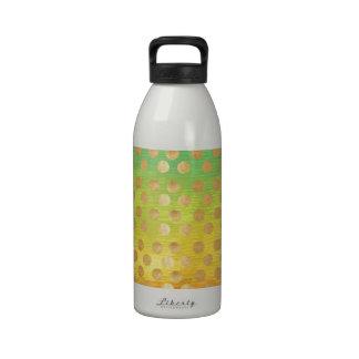 Vintage colorful tapestry gold polka dots nouveau drinking bottles
