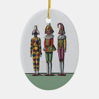 Vintage Colorful Whimsical Three Jester Dolls Double-Sided Oval Ceramic Christmas Ornament
