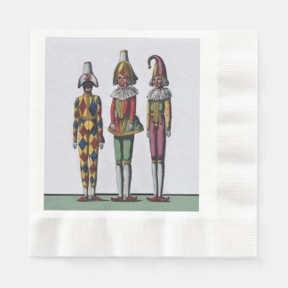 Vintage Colorful Whimsical Three Jester Dolls Paper Napkin