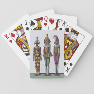 Vintage Colorful Whimsical Three Jester Dolls Playing Cards
