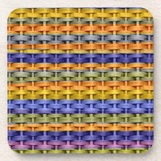 Vintage colorful wicker art graphic design coaster
