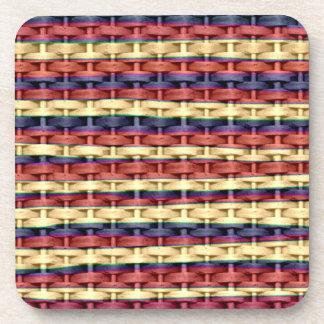 Vintage colorful wicker art graphic design drink coaster