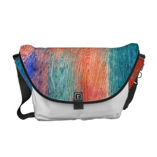 Vintage Colorful Wood Grain Messenger Bag