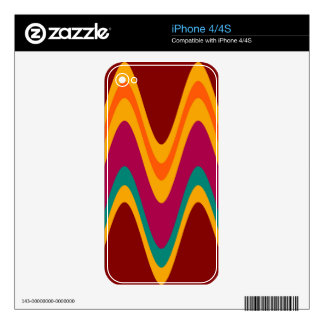 Vintage Colorful Zigzap Abstract Art Deco Skin For iPhone 4