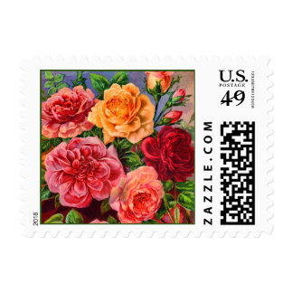 Vintage colorido de los rosas floral sellos postales