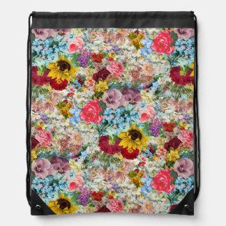 Vintage colorido floral mochila