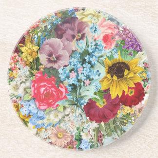 Vintage colorido floral posavasos personalizados